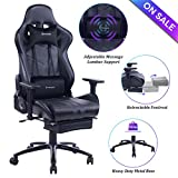 VON RACER Massage Gaming Chair Racing Office Chair - Adjustable Massage Lumbar Cushion, Retractable Footrest and Arms High Back Ergonomic Leather Computer Desk Chair (Black)