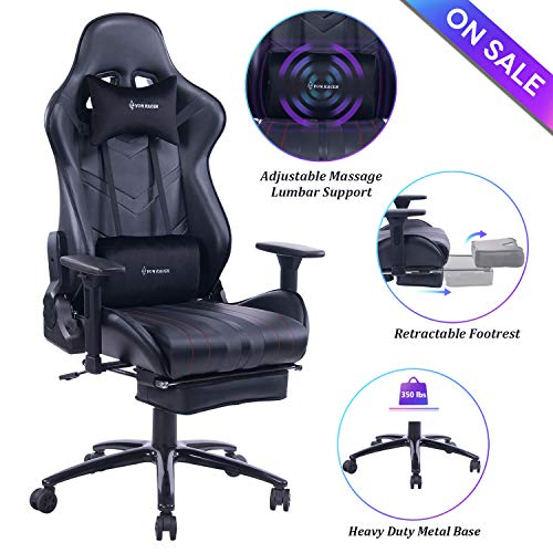 VON RACER Massage Gaming Chair Racing Office Chair - Adjustable Massage Lumbar Cushion, Retractable Footrest and Arms High Back Ergonomic Leather Computer Desk Chair (Black) (Gaming Computer Chair)