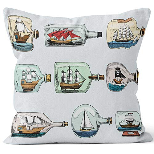 Nine City Ship in Bottle Vector Boat in Miniature Gifted sail Souvenir in Glass Sailboat with Cork or Shipping in Flask Isolated o Sack Burlap Pillow,HD Printing Square Pillow case,18
