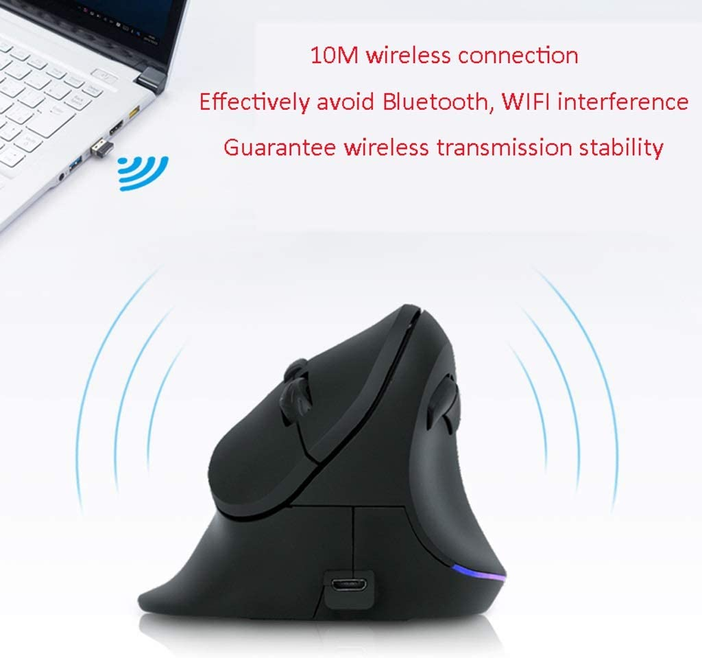 XXW Mouse Vertical Mouse Charging Wireless Mouse Vertical Large Hand Holding Ergonomics Prevention Mouse Hand Optical Mouse