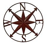 Zeckos Distressed Metal Indoor/Outdoor Compass Rose Wall Sculpture 28 Inch Metal Wall Sculptures Red