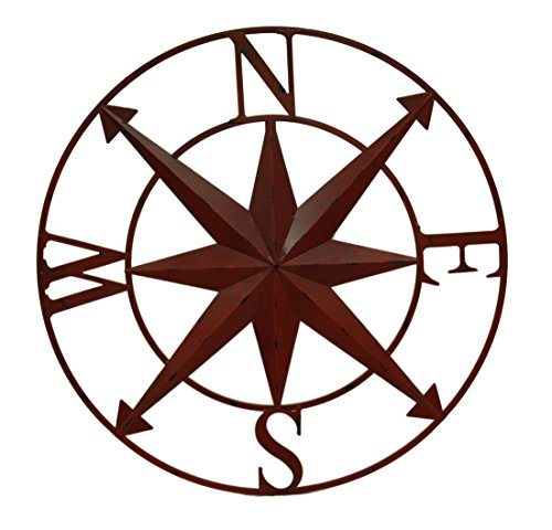Distressed Metal Indoor/Outdoor Compass Rose Wall Sculpture 28 Inch Metal Wall Sculptures Red (Decorative Items Sailing)