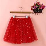 Sinwo Womens Girl Cute Pleated Gauze Short Skirt Adult Tutu Dancing Skirt Basic Skirt (Red)