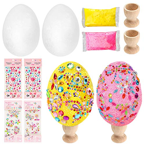 Shindel DIY Easter Egg, 2PCS Foam Decorative Easter Egg Ornaments Easter Day Party Decoration