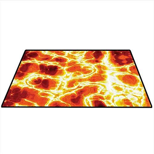Burnt Orange Decor Area Rug Carpet Hot Burning Lava Texture with Bursting Fire Flames Volcanic Heated Magma Image Art Door mat 4