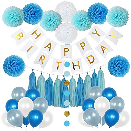 Happy Birthday Streamer (85 Pieces Birthday Party Decoration Set for Boys- includes Happy Birthday Banner, 20 Party Balloons, 10 Paper Pom Poms, 10 Tassels and 32 Round Paper Garland Perfect For Boys Birthday Party)