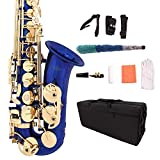 LAGRIMA Professional Alto Blue Eb SAX Saxophone, Lacquer E Flat Alto Sax for Beginners Adult w/Tuner, Case, Mouthpiece, Cleaning Cloth Rod, Glove, Neck Strap