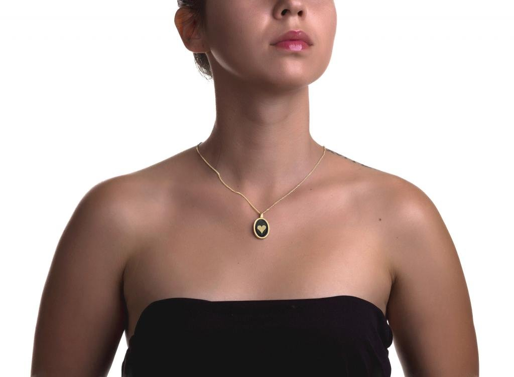 Gold Plated I Love You Necklace 24k Gold Inscribed in 120 Languages Onyx Pendant, 20'' Gold Filled Chain by Nano Jewelry (Image #4)