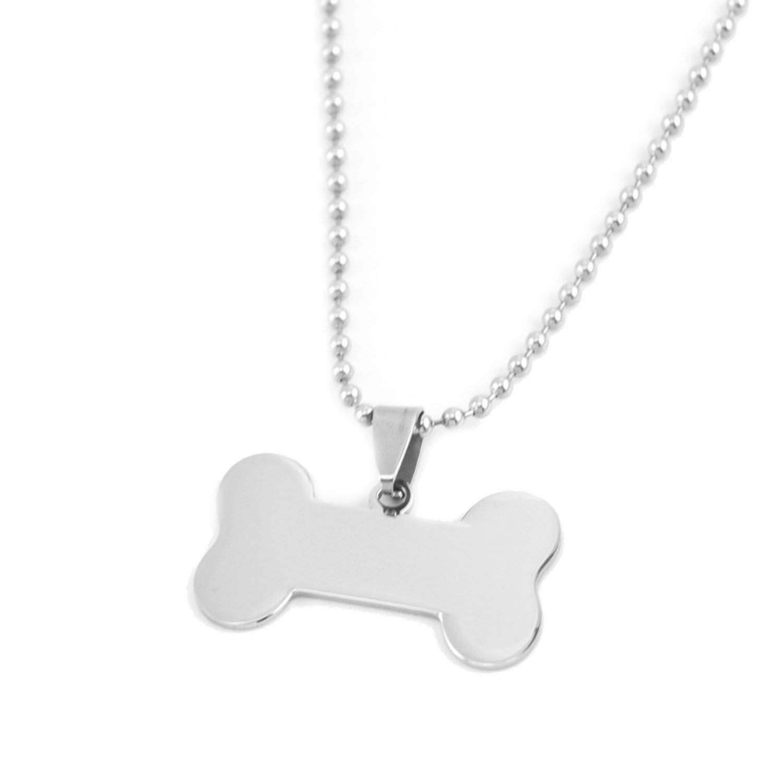 Dog Id Tag Charms Blank Pendant Small Mirror Dog Bone DIY Print Logo Name Pendant Stainless Steel 50 Pcs,with 50cm Ballchain