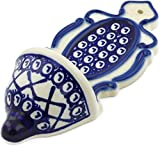 Polish Pottery 7¾-inch Wall Pocket (Lattice Peacock Theme) + Certificate of Authenticity