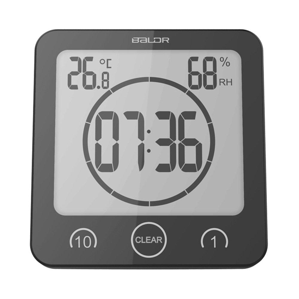 Digital Bathroom Clock Shower Timer Wall Clock Alarm LCD Waterproof Shower Thermometer Hygrometer With Wall Socket, Black