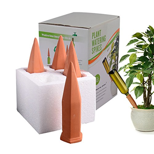 Terra Cotta Water - WMSB Plant Watering Spikes Set of 4 Water Plants with This Great House Plant Watering System Perfect as a Plant Waterer and Amazing for Vacation Plant Waterin