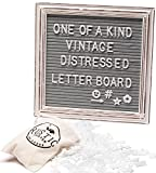 Premium Gray Felt Letter Board Set with Distressed White Vintage Frame 10''x10'' Farmhouse Inspired Baby Announcement Board | 340 Letter Set, Emojis, Wall Hook, Stand and Bag