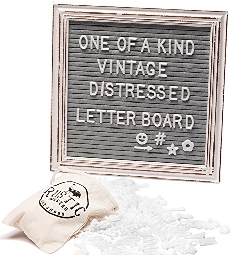Premium Gray Felt Letter Board Set with Distressed White Vintage Frame 10''x10'' Farmhouse Inspired Baby Announcement Board | 340 Letter Set, Emojis, Wall Hook, Stand and Bag by Rustic Rooster Home Goods
