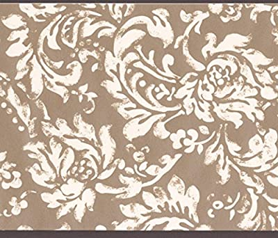 Modern White Floral Pattern Brown Damask Wallpaper Border Vintage Design, Roll 15' x 6''