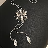 Meolin Fashion Flower Diamond Pendant Necklace Sweater Chain Long Necklace Jewelry,gray,80cm