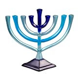 "Colorful Aluminum Candle Menorah - Fits All Standard Chanukah Candles - Artistic Blue Gradient Tie Dye Design - 10"" High"