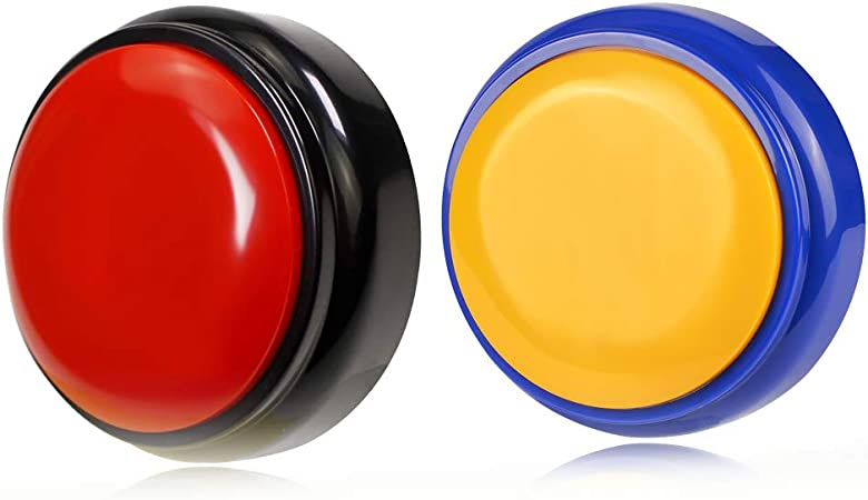 Cover Talking Button Record & Playback Your Own Message 30 Second Custom Recordable, Easy Sound Recorder Set of 2 (Black+Blue)