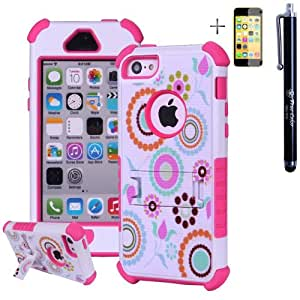 3 Layers Heavy Duty Hybrid Rugged Matte Modern Blossom Case Cover + Stand for Apple iPhone 5c + Stylus + Screen Protector - Pink