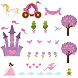 My Wonderful Walls Princess with Fair Skin and Dark Hair Wall Decals Stickers for Girls Room Wall Mural