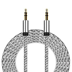 3.5mm Auxiliary Cable Audio Cable Male To Aobiny Male Flat Aux Cable 3m (Silver)