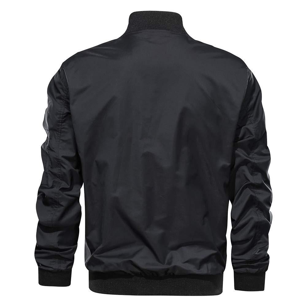 EKLENTSON Mens Bomber Jacket Casual Lightweight Autumn Spring Travel Flight Jacket Windbreaker Coat Zip Pockets