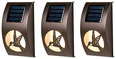 Winsome House Hummingbird Solar Wall Lights, Set of 3