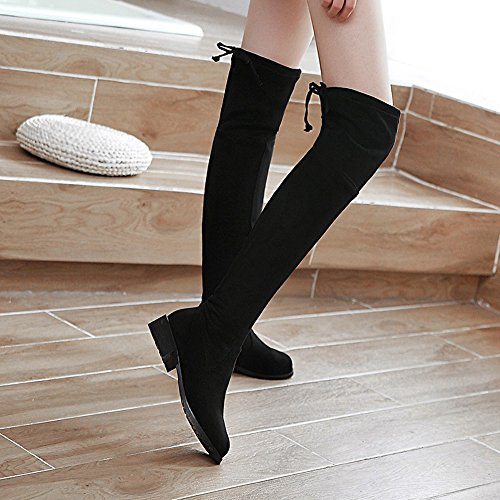 Up High Boots Thigh Boots Women Long Low Shoes Lace Stretch Meotina Heel Black qn6wHRWW