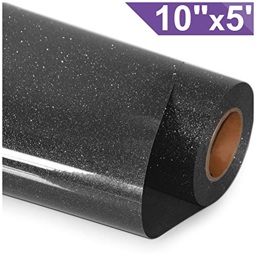 0.25' Flare - ARHIKY Glitter Heat Transfer Vinyl HTV for T-Shirts 10Inches by 5 Feet Rolls(Black)...