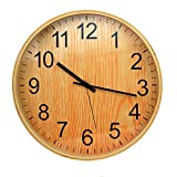 SUPERIORFE Round 12-inches Non-ticking Digital Clock Country-Style Vintage Quartz Decorative Wooden Wall Clock