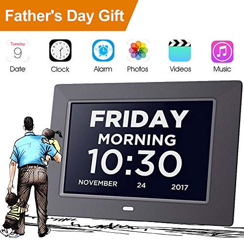 Calendar Display (Day Clock Extra Large Impaired Vision Digital Clock Dementia with Time, Day and Date, Month and Year showing, Calendar/Photo Display Function, Perfect Gift for Elderly, Memory Loss)