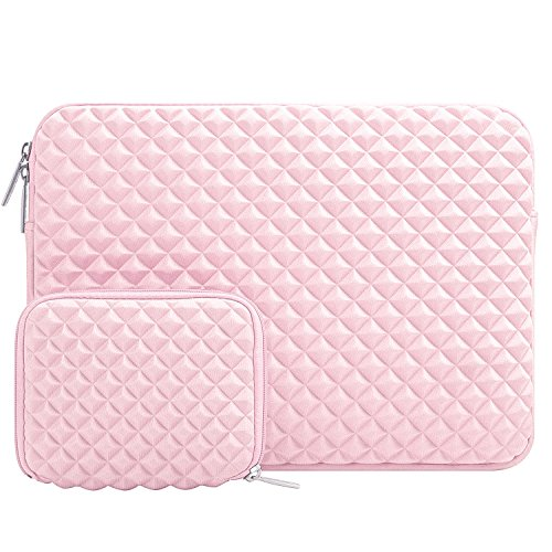 MOSISO Laptop Sleeve Bag Compatible 15-15.6 Inch MacBook Pro, Ultrabook Netbook Tablet with Small Case, Shock Resistant Diamond Foam Water Repellent Neoprene Protective Carrying Cover, Rose Quartz