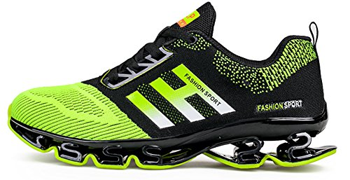 Weishan Black Springblade Jogging Shoes for Mens mesh Breathable Slip on Comfortable Boys Trail Running Shoes Outdoor Travel Shoes Size 10 (656-green-44) by Weishan (Image #2)