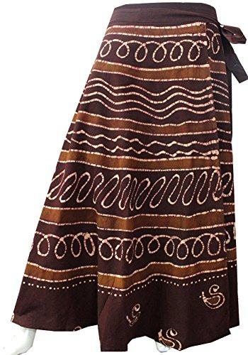 Batik Cotton Wrap Around Long Skirt Womens Indian Clothing (Brown, One - Cotton Batik Wrap
