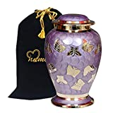 Lavender Butterflies Cremation Urn - Solid Brass Purple Butterfly Urn - Lavender Butterfly Adult Funeral Urn - 100% Handcrafted Affordable Urn for Human Ashes with Free Bag