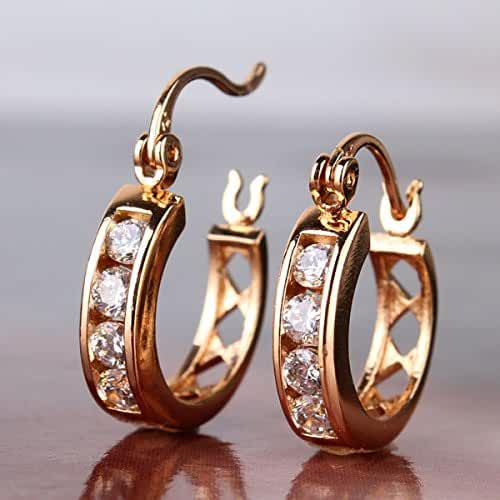 Chokushop Anniversary Gift 18K Gold Plated Hollow Out Hoop Earring White Zircon Brincos Ouro Gem Stone Jewelry E306b