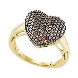 Kyпить Brandy Diamond Chocolate Brown 10k Yellow Gold Pave Heart Lovely Ring 5/8 Ctw. на Amazon.com