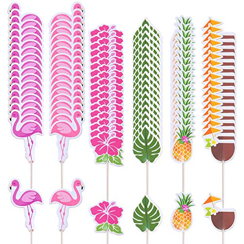 Ruisita 120 Pieces Cupcake Toppers Tropical Hawaiian Cupcake Toppers Luau Summer Flamingo Pineapple Hibiscus Flowers Tropical Palm Leaves Cupcake Toppers Picks for Party Supplies Decoration