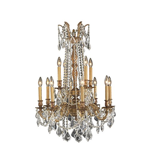 Worldwide Lighting Windsor Collection 12 Light French Gold Finish and Clear Crystal Chandelier 24