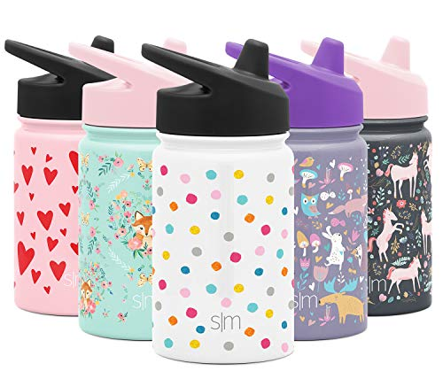 Simple Modern Kids Summit Sippy Cup Thermos 10oz - Stainless Steel Toddler Water Bottle Vacuum Insulated Girls and Boys Hydro Travel Cup Flask -Polka Play Purple