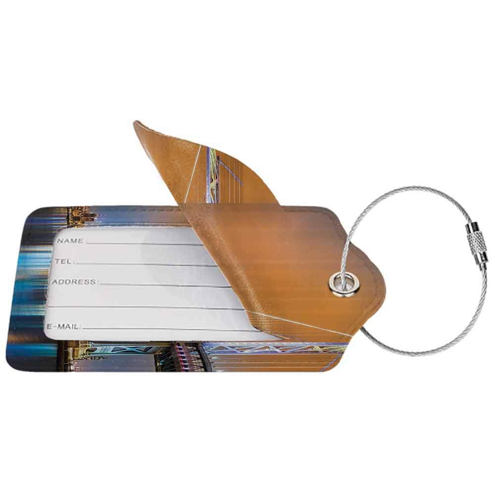 Flexible luggage tag Apartment Decor Collection Ben Franklin Bridge and Philadelphia Skyline Viewed from Camden Across the Delaware River Fashion match Peach W2.7 x L4.6
