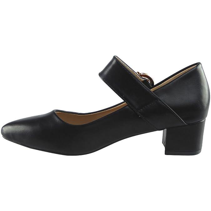 Damen Mary Janes Niedrig Mitten Hacke Arbeit Spitz Zehe Schuhe Größe 39 LSlCGKDg5d