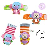 Daisy Best Gift Baby Wrist Rattles Hands Foots Finders Infant Baby Soft Education Development Toy - Monkey and Elephant