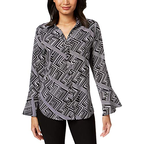 NY Collection Womens Geometric Bell Sleeves Button-Down Top Black S from NY Collection