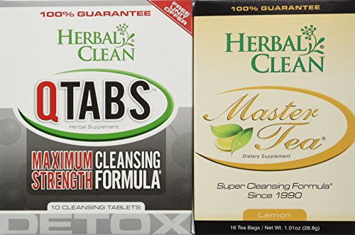 Fast Detox (1) Qtabs & (1) Master Tea W/ Creatine Tablets by Herbal Clean Quick Detox With Master Tea To Get Absolutely Clean Today - Detoxify with Herbal All Natural Ingredients