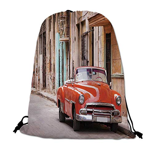 Cars Lightweight Drawstring Bag,Classical American Car in a Street with Ancient Houses Caribbeans Havana Cuba for Travel Shopping,One_Size