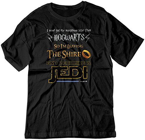 Star Wars Iron On Transfers - BSW Men's Harry Potter Lord of The Rings Star Wars Jedi Fan Shirt 2XL Black