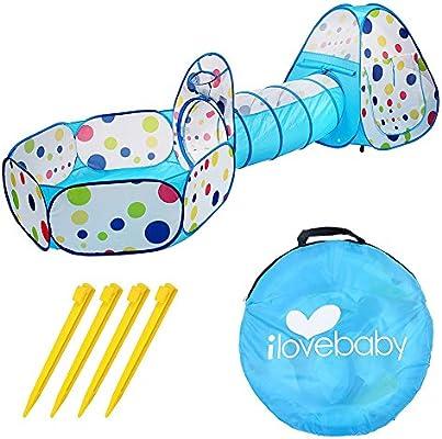 Amazon.com: artempo abatible 3-PCS Baby Play tienda de túnel ...
