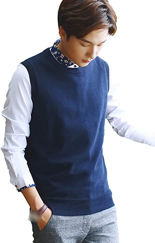 Sunma Herren Strickweste Pullunder Regular fit V-Ausschnitt Knopfleiste Einfarbig Strickjacke