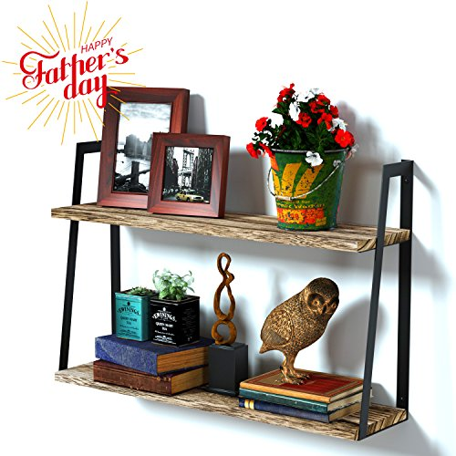RooLee Upgraded 2-Tier Floating Wall Mount Shelves Book Shel
